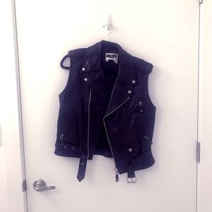 DKNY Vintage Real Leather Motorcycle Vest Jacket